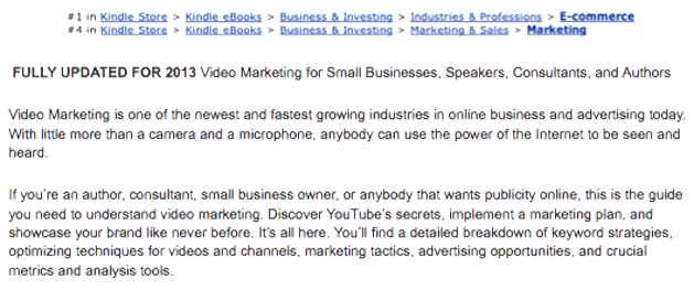 Screenshot, Amazon rank, Bullard YT Mktg Manual